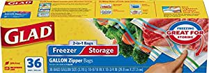 Glad Food Storage Bags, 2 in 1 Zipper, Gallon, 36 Count (Pack of 3)