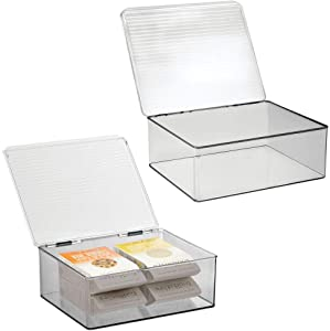 mDesign Plastic Stackable Kitchen Pantry Cabinet/Refrigerator Food Storage Container Box, Attached Lid - Organizer for Coffee, Tea, Packets, Snack Bars - BPA Free, Food Safe, 2 Pack - Clear/Smoke Gray