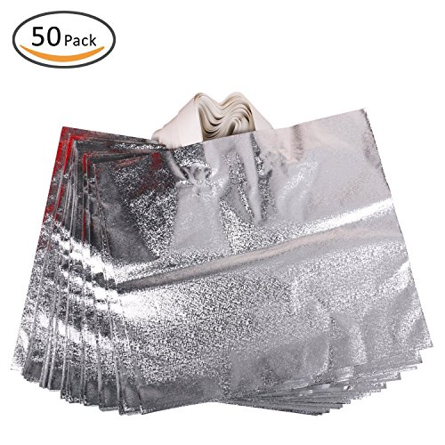 """Rumcent Merchandise Bags,Retail Clothing Grocery Boutique Shopping Bags with Handles,Christmas Gift Bag, Size 15.7"""" x 14.2"""", Set Of 50 - Silver"""