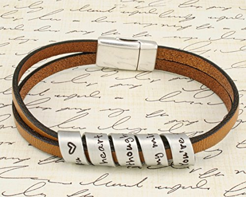 Secret Message spiral stamped bracelet - Your favorite quote or message - Brown - Hand stamped aluminum/leather bracelet with magnetic clasp. Custom made for you. (Stamped Leather Brown)
