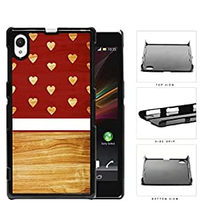 Burgundy Wooden Hearts Pattern with Block and White Stripe in Center Hard Snap on Cell Phone Case Cover Sony Xperia Z1