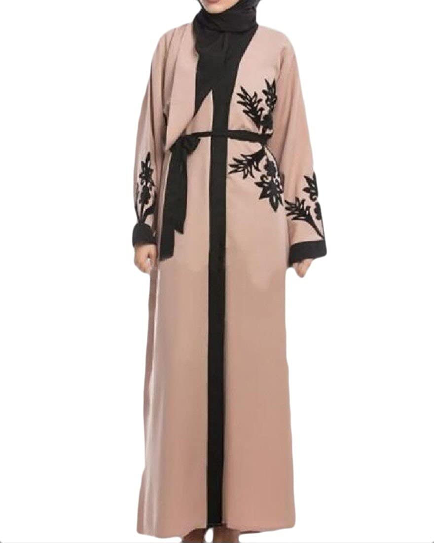 Tootlessly-Women Muslim Cardigan Relaxed-Fit Printing Abaya Hit Color Maxi Dress