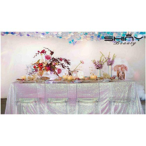 Sequin Tablecloth for Rectangle Table 60x102-Inch, Iridescent White Polyester Wedding Ceremony Sequin Fabric Table Cloth Table Overlay ()