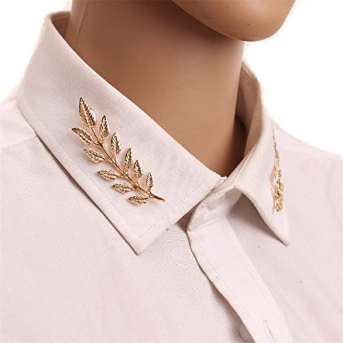 Edtoy Elegant Double Leaf Collar Pin Brooch Classic Design (Golden) - Design Pin Brooch