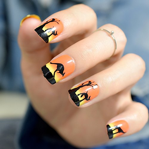 CoolNail Orange Sunset View Black French False Nails Tips kangaroo Animal Print Full Artificial Fake Nail for Office Daily faux -