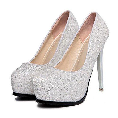 W&LM Sra Tacones altos De acuerdo Plataforma a prueba de agua Ultra Tacones altos Lentejuelas Boca rasa Zapatos individuales White