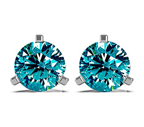 Frostrox 14K White Gold 0.60 Carat Round Brilliant Cut Color Enhanced Blue Diamond (SI2-I1 Clarity) Classic Stud Earrings ()
