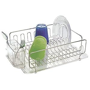 MDesign Stainless Steel Dish Drainer With Drip Tray Kitchen Sink - Kitchen sink drainer