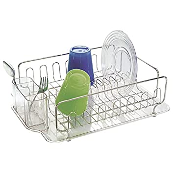 MDesign Stainless Steel Dish Drainer With Drip Tray   Kitchen Sink Drainer    Plastic Dish Rack