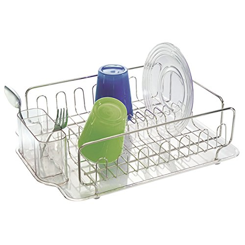 mDesign Stainless Steel Dish Drainer with Drip Tray - Kitchen Sink ...