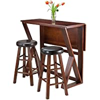 Winsome 3-Piece Harrington Drop Leaf High Table with 2 Cushion Round Seat Stools, 24-Inch, Brown