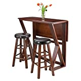 High Kitchen Table Winsome 3-Piece Harrington Drop Leaf High Table with 2 Cushion Round Seat Stools, 24-Inch, Brown
