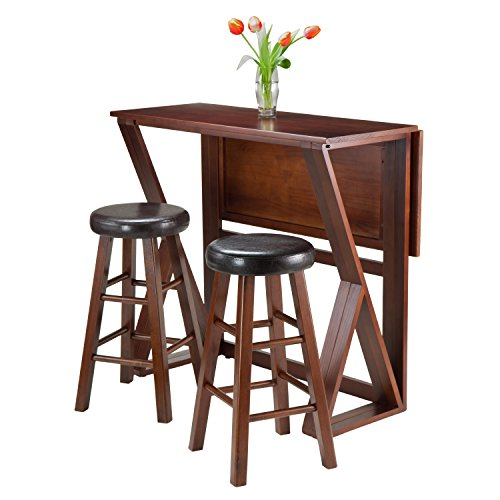 Winsome 3-Piece Harrington Drop Leaf High Table with 2 Cushion Round Seat Stools, 24-Inch, Brown by Winsome