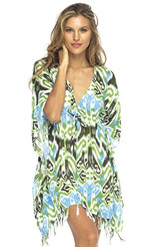 Back-From-Bali-Womens-Short-Beach-Swimsuit-Cover-Up-Caftan-Dress-Empire-Ikat