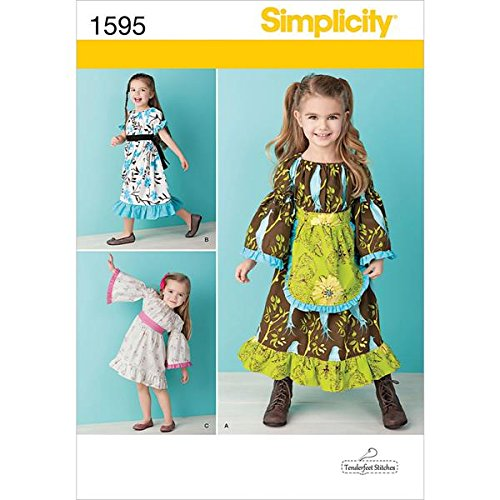 Simplicity Tenderfeet Stitches Pattern 1595 Toddler Dress in Two Lengths with Variations Sizes 1/2-1-2-3