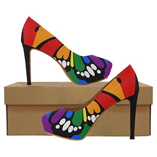 InterestPrint Vintage Stripes Womens Sexy High Heels Pump Shoes Dot Rainbow Flag Stripes Butterfly LN5vRJymhF