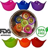 Silicone Egg Poachers - Set of 6 - Premium Quality Poacher Cups - Food Grade FDA Approved BPA Free - Baking Mold Cups - Perfect Poached Eggs Every time