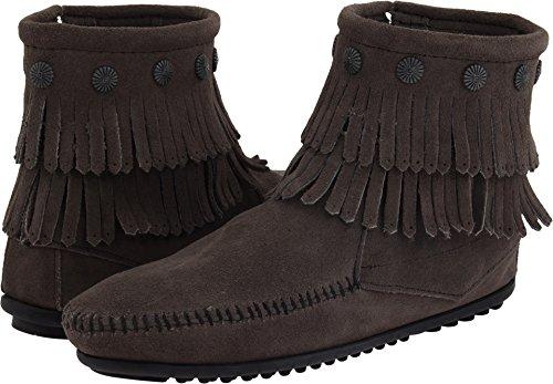 Minnetonka Women's Double Fringe Side Zip Boot Grey Suede 5 M US