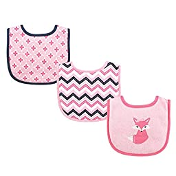 Luvable Friends 3 Piece Drooler Bibs with Fiber Filling, Foxy