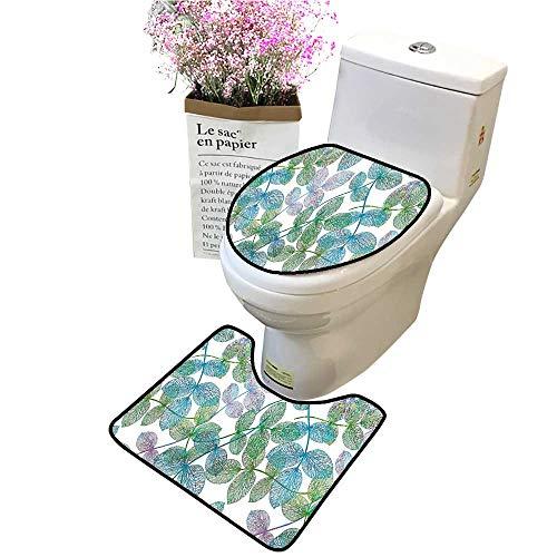 Ivy Leaf Pedestal - 2 Piece Bathroom Mat Pedestal Rug Bath Mat Leaves Ivy Vein Like Rainbow Ombre Colored Art Print Light Blue Fern Green Contour Toilet Mat and Toilet lid