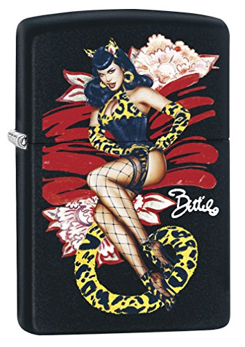 Zippo Lighter: Bettie Page by Olivia Cat Costume - Black Matte ()
