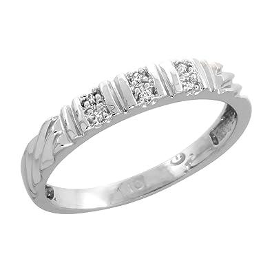 Amazon Com 10k White Gold Ladies Diamond Wedding Band 1 8 Inch