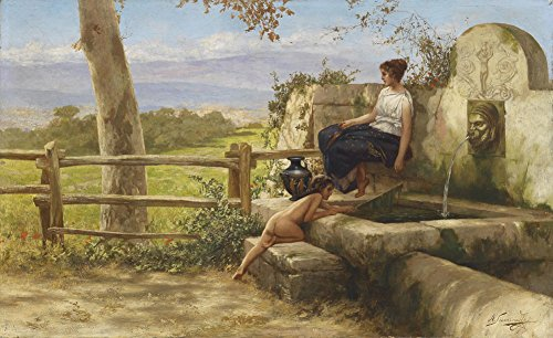 Henryk Siemiradzki - at The Fountain, Size 22x36 inch, Gallery Wrapped Canvas Art Print Wall décor