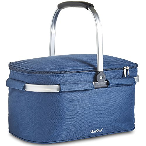 (VonShef Foldable 30L Insulated Large Cooler Bag, Collapsible Picnic Lunch Keep Cool Outdoor Travel Cooler - Navy)