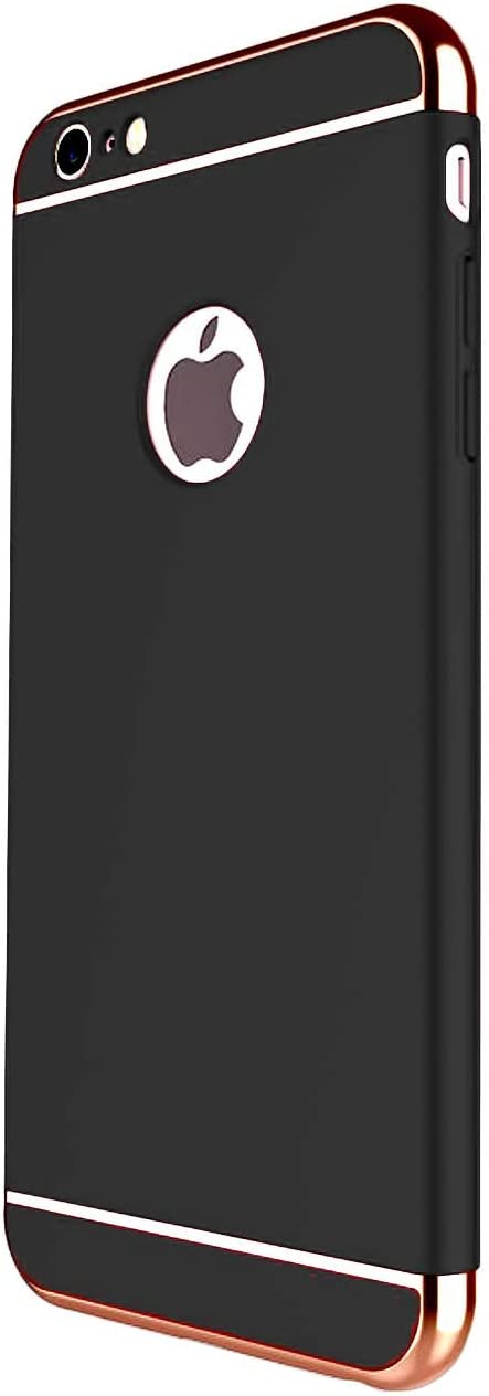 iBarbe iPhone 6S Plus Case iPhone 6 Plus Case Shockproof Scratch Protective Rubber Rugged Slim PC Hard Plastic 3 in 1 Case Cover for Apple iPhone 6/6S Plus (5.5 inch)- Black
