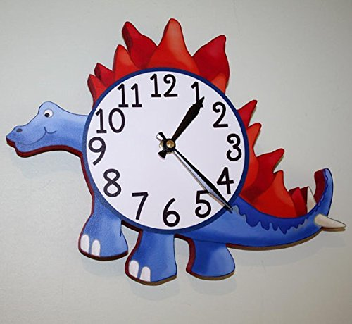 Spike Tail Dinosaur Navy Wooden WALL CLOCK for Boys Bedroom Baby Nursery (Spike Clock)