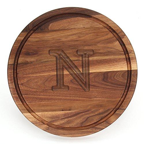 BigWood Boards W110-N Cutting Board, Monogrammed Cutting Board, Medium Round Cheese Board, Thick Walnut Wood Serving Tray, ''N'' by BigWood Boards