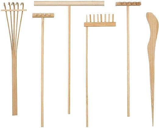 Artibetter 6 Piezas Mini Kit de Rastrillo de Jardín Zen Rastrillos de Zen de Bambú Meditación Arena Zen Herramientas de Jardín Accesorios para Mesa de Oficina en Casa Decoración Feng Shui: Amazon.es: