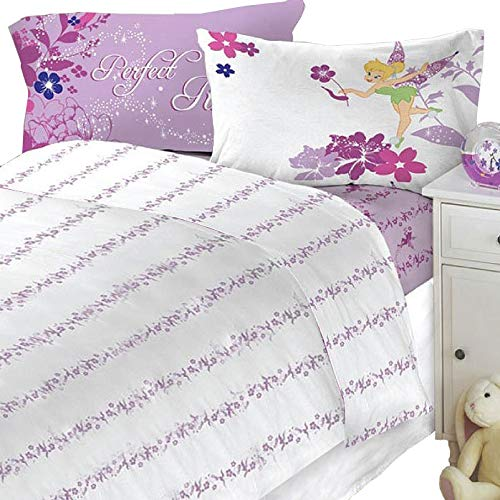New 4pc Disney Tinkerbell Powder Purple Bedding Full Sheet Set - (Type of Product:Bedding-Sheets & pillowcases) - New