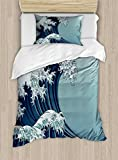 Lunarable Wave Duvet Cover Set Twin Size, Japanese Motif Vintage Style Drawing Asian Culture Inspirations Oriental, Decorative 2 Piece Bedding Set with 1 Pillow Sham, Navy Blue Indigo Seafoam