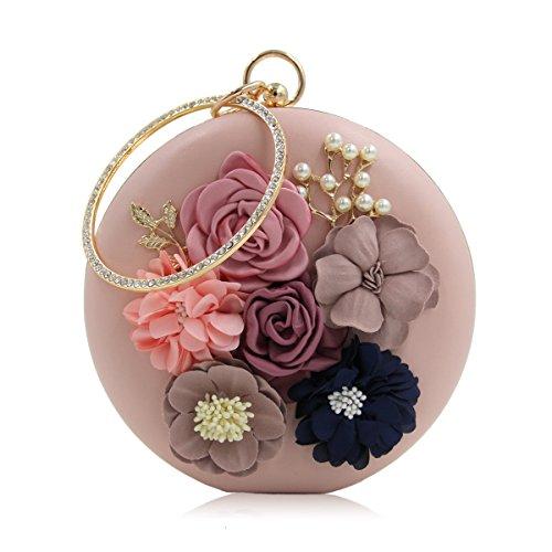 Flada Hard Case Beading Clutch Purse Bags for Women Flower Wedding Bags Wine Pink 1