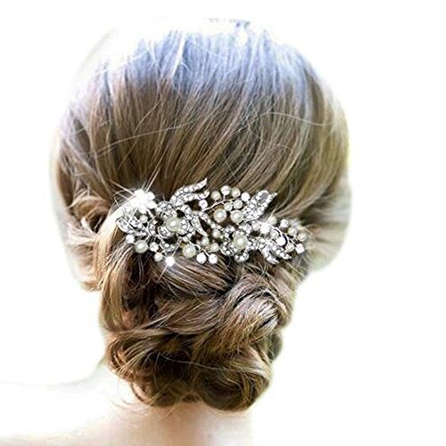 Unicra Pearl Flower Hair Comb for Wedding Party Hair Jewelry(Silver)