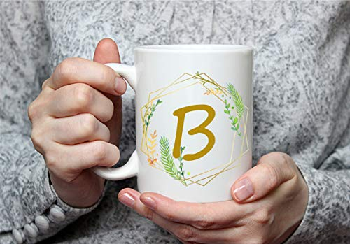 Wildflower Custom Letter or Initial White 11 Ounce White Mug   Personalize and Customize with Any Letter or Initial   Great Custom Mug Gift for yourself or any friend
