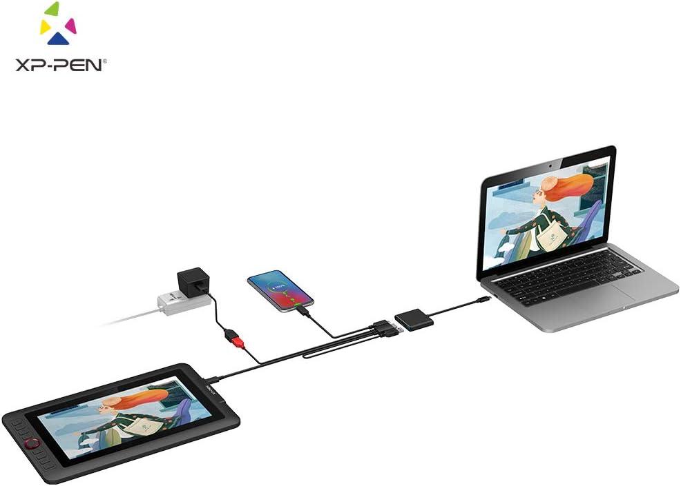 XP-PEN Adaptador USB-C a HDMI 3 en 1 USB-C Convertidor a HDMI 4K