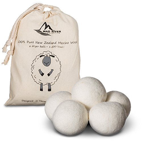 Wool Dryer Balls  Super Premium Laundry Clothes Dryer Balls  New Zealand Merino Wool  6 Pack  Natural Organic Fabric Softener   By Mad River Collective