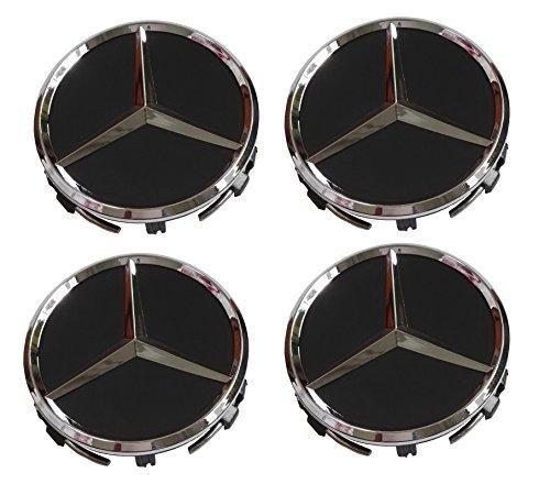 Set Center Cap Hubcap - Mercedes-Benz Wheel Center Hub Cap Cover Emblem Badge Sets of 4,Black