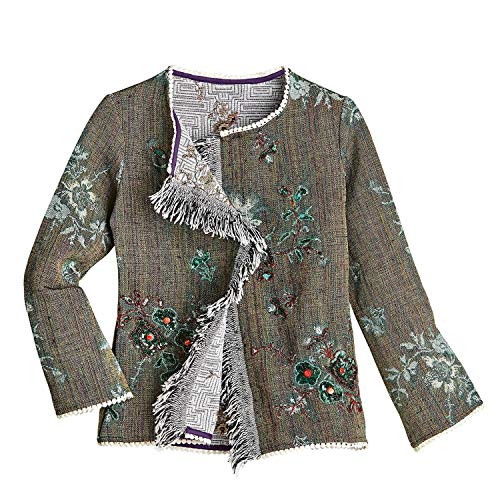 - CATALOG CLASSICS Women's Fringed Open Front Jacket - Taupe, Floral Embellishment - Small