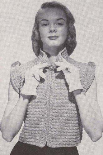 The Sleeveless Eton Little Chenille Topper Crochet Jacket Sweater Vest Pattern