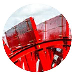 alfombrilla de ratón Rueda de paleta roja de la barca en un río con los árboles - ronda - 20cm