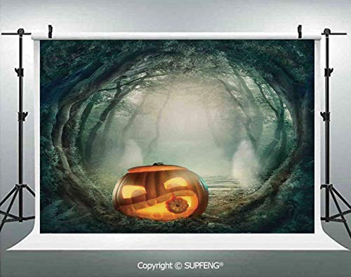 Photography Background Scary Halloween Pumpkin Enchanted Forest Mystic Twilight Party Art 3D Backdrops for Photography Backdrop Photo Background Studio Prop -