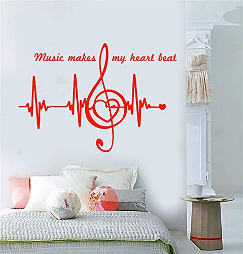 olaaply Wall Decal Wall Written Vinyl Wall Decals Quotes Sayings Words Art Deco Lettering Music Makes My Hearts Beat Notes Heart Pulse ()