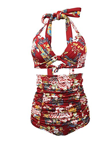 uxcell Women Retro Ruched Hight Waist Bikini Shirred Floral Halter Bathing Suit Red US 4
