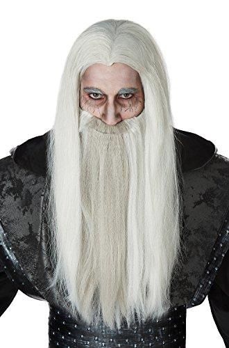 Old Wizard Halloween Costume (California Costumes Men's Dark Wizard and Beard Adult Wig, White/Gray, One)