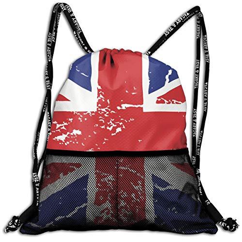 Men & Women Premium Polyester Drawstring Sack British Flag Crack String Bag Theft Proof Lightweight For Swiming Soccer Baseball Bag Large Size For Camping, - Bean Bag Chair Volleyball