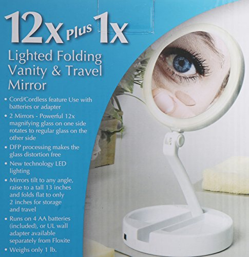 Floxite 7504-12l 12x LED Lighted Folding Vanity and Travel Mirror, White, Frosted White by Floxite (Image #3)