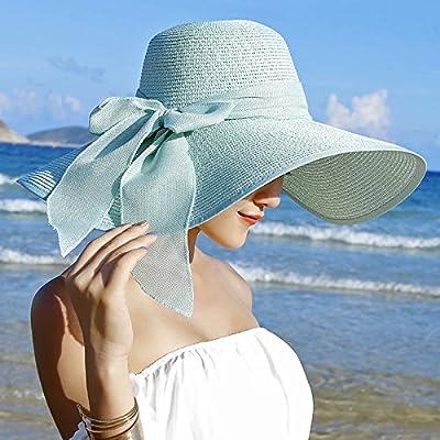 Xing Han Chapeau De Plage Chapeau De Soleil Chapeau De Soleil Chapeau Solaire Chapeau De Paille Pliable Uv Sun Sea, Vert Menthe
